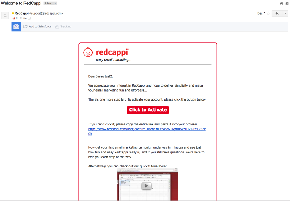 Step 1  open your email from redcappi   click to activate 240d3df645