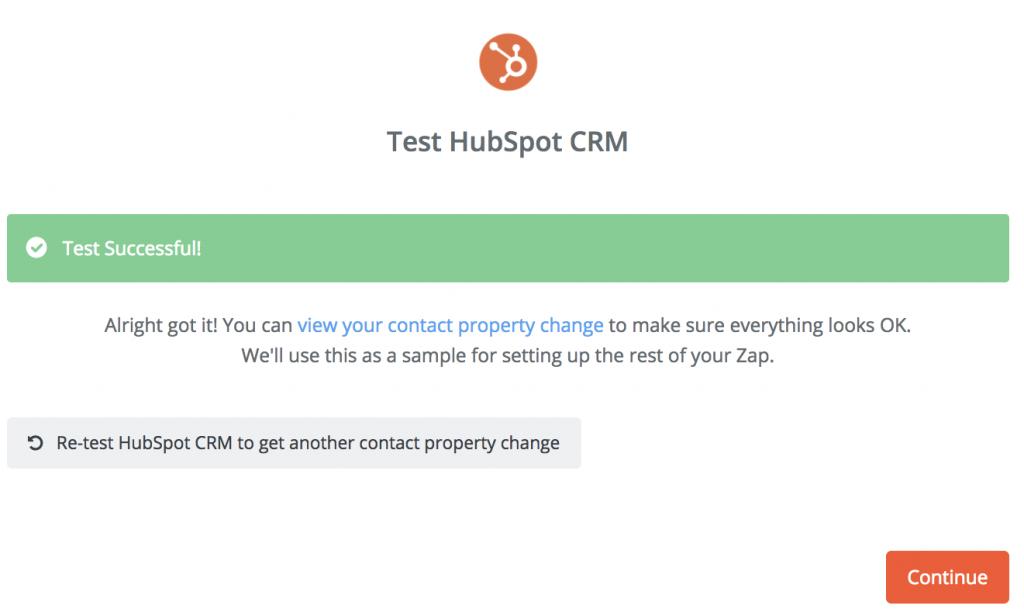 Hubspot CRM Test Successful- Zapier Integration