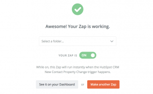 Turning your Zap on for Hubspot CRM Integration with Redcappi